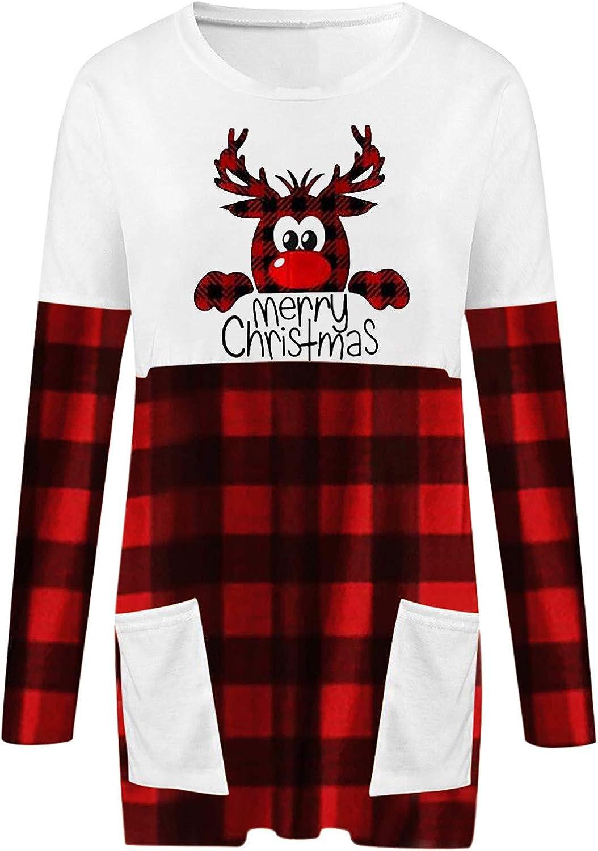 PUAMAC Womens Christmas Hoodies Nette Elch Gedruckt Langarm Patchwork Plaid O-Ausschnitt Tunika Sweatshirt Kordelzug Pullover Tops Mit Taschen Rot