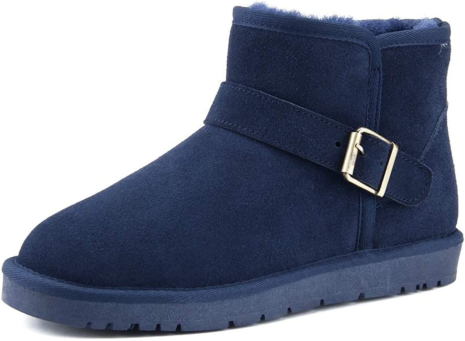 UnicorniO Men's and Women's Fashion Snow Boots Casual Antirust Metal Buttons Winter Faux Fleece Inside Snow Boots (color   Darkbluee, Size   8.5 D(M) US)