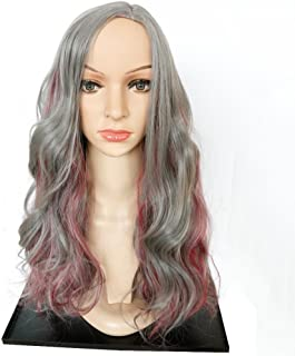 FMEZY BeatyWig Grey Long Wigs for Women Natural Wavy Curly Mix Color Sideparting Synthetic Heat Resistant Hair with CapWigs