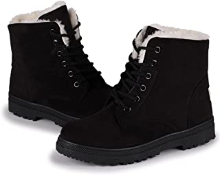 Susanny Suede Flat Platform Sneaker Shoes Plus Velvet Winter Women's Lace Up Cotton Snow Boots