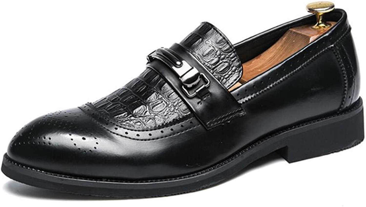 Men's Formal shoes Summer Fall Pointed shoes Mens Fashion Casual Leisure Office Business shoes Loafers & Slip-Ons (color   Black, Size   38)