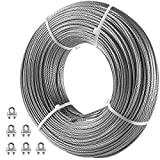 VEVOR Galvanized Steel Cable, 1/8'' Aircraft Cable, 200ft Galvanized Cable 7x7 Construction Steel Wire Cable w/Cable Clamps, 1760lb Breaking Strength for Railing Decking, Lifting, Hanging, Fencing