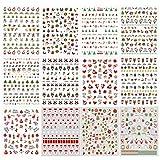 PHOGARY 900 piezas + Calcomanías de Uñas 3D (Patrones Navideños), 12 Hojas de Calcomanías Autoadhesivas para Manicura Pedicura con Rojo, Verde, Blanco, Color Dorado Brillo
