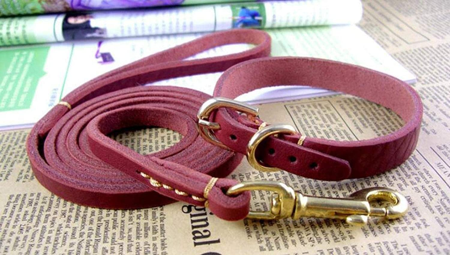 Dog Lead Dog Lead Pet Traction Rope Leather Traction Belt with Collar Soft and Durable Dog Chain, Dark Brown, s Dog Training Leash (color   Wine red, Size   M)