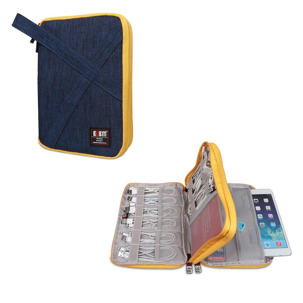 BUBM Must Beautiful DIPデータケーブルパックキャリングケースUディスクパックワイヤー収納袋ヘッドフォンバッグモバイルパワーパッケージ多機能デジタルアクセサリー収納バッグ(2層(17×24.5×3CM)、ブルー)