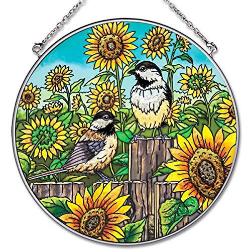 Amia Suncatcher - Birds and Sunflowers Hand-Painted Glass - 6.5 Inch