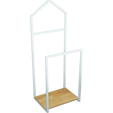 Box and Beyond Valet en métal et pin - 2 Barres de penderie / 1 étagère - Blanc/Naturel - 116x35x45cm
