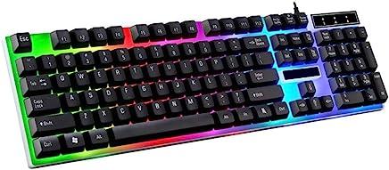 HAHAP LED Backlit Wired Mechanical Gaming Keyboard,G21 Waterproof Rainbow Keyboard with Rainbow Backlight USB