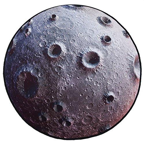 VERCART Tapis de Sol Rond Décoration Salon la Lune Gris