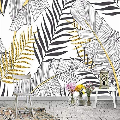 /×50Cm XZCWWH Noir Et Blanc Feuille De Bananier Noix De Coco Palmier Peintures Murales De Papier Peint Affiche Personnalis/ée Photo Mur Affiche Mur Autocollant Porte Autocollant,90Cm H W