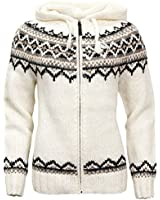 ICEWEAR Brynja 100% Icelandic Wool Hand Knitted Jumper with Zipper and Hood White