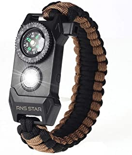 RNS STAR Paracord Survival Bracelet 6-in-1 - Hiking Gear Traveling Camping Gear Kit - 70% Bigger Compass LED SOS Emergency...