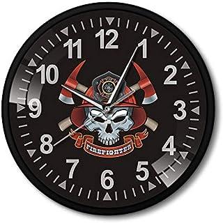 xuyuandass Reloj De Pared Calavera con Ejes Cruzados Marco De Aluminio Negro Clcok Cruz De Malta