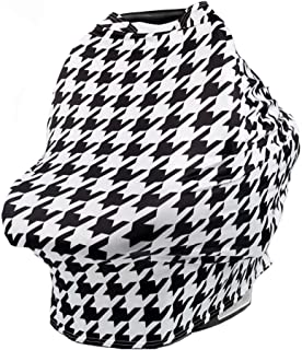 TUOKING Car Seat Covers for Babies, Silky Texture Nursing Cover for Breastfeeding with Matching Pouch, Houndstooth