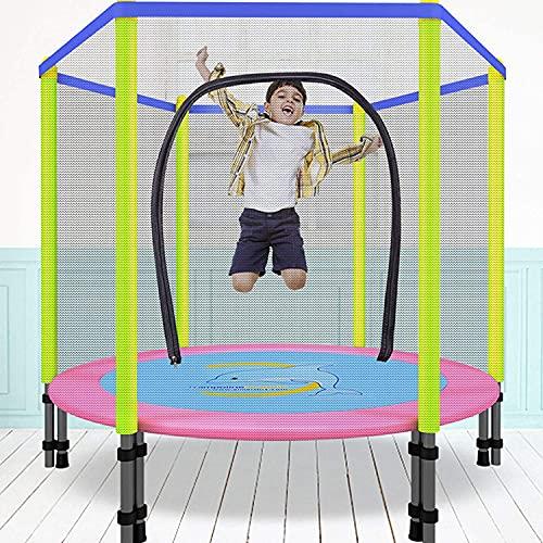 50-Inch Niños Trampolín, Jardín Trampolín con Red De Seguridad del Recinto, Plegable Interior/Trampolín Al Aire Libre, Fácil De Ensamblar, Adecuado para Niños