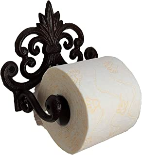 """Comfify Fleur De Lis Cast Iron Toilet Paper Roll Holder - Cast Iron Wall Mounted Toilet Tissue Holder - European Victorian Design - 7.9x4.3x6.3"""" - with Screws and Anchors (Rust Brown)"""