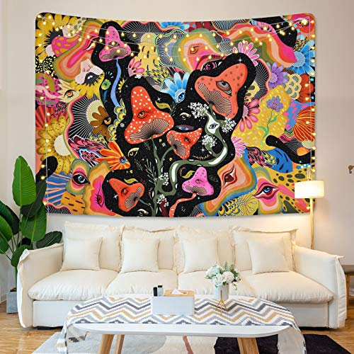 Mushroom Tapestry Psychedelic Eyes Tapestries Trippy Tapestry Colorful Flowers Tapestry Wall Hanging for Room(51.2 x 59.1 inches)