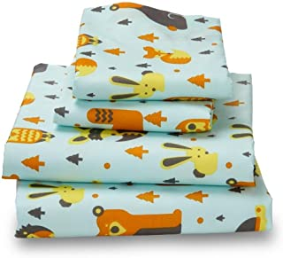 Woodland Creatures QUEEN Sheets for Kids -Breathe 50% Better Than Cotton and Are Made from Super Soft Microfiber That Is as Soft as 1500 Thread Count Cotton and Will Not Ball Up, Shrink or Wrinkle; This Full size set Comes with Reinforced Elastic Corners Adding to Its Impressive Durability