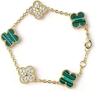 Red Black Onyx Malachite 18K Gold Plated Four-leaf Clover Diamond Flower Bracelet/Classic Fashion 925 Sterling Silver 4 Leaf Clover Pendant Bracelets for Women&Girls