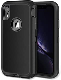 Jiunai iPhone XR Case, Heavy Duty Drop Protection Dual Layer Tough Armor Rugged Cover Case ONLY Compatible with iPhone 10 R XR 2018 6.1'' Black