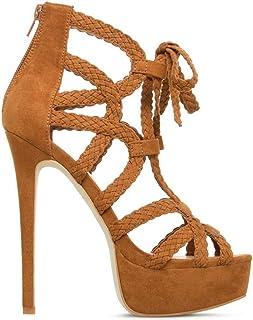 Super High Heel Waterproof Platform Sandals Women's Shoes,Brown,35