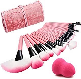 ALLFY Make Up Brushes 32 Pcs Pink Professional Kabukit