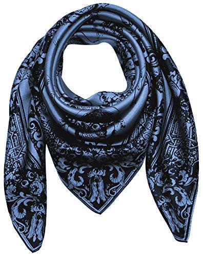 LORENZO CANA Luxus Damen Seidentuch aufwändig bedruckt Tuch 100% Seide harmonische Farben Damentuch Schaltuch, Mittelblau, 90 x 90 cm
