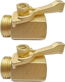 2 Pcs Garden Hose Brass Shut Off Valve, 3/4'' Thread Heavy Duty Water Hose Connector Shutoff Ball Valve Faucet Hose Adapter