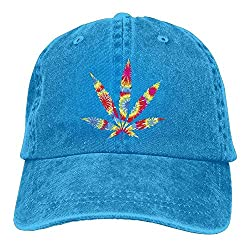 Denim Baseball Hat with embroidered tie dye style pot leaf design