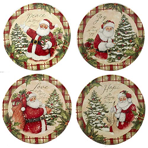 Certified International Holiday Wishes 6' Canape Plates, Set of 4 Assorted Designs, One Size, Mulicolored