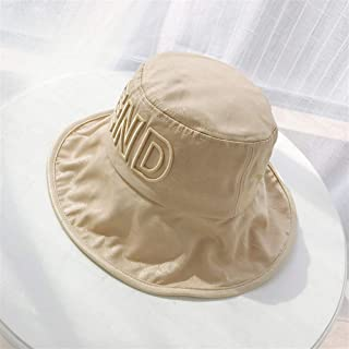 SHENTIANWEI END ~ Harajuku Style Bucket hat Large Brimmed Sun hat Child Summer Japanese Korean Three-Dimensional Embroidery Letter hat for Men and Women (Color : Khaki, Size : One Size)