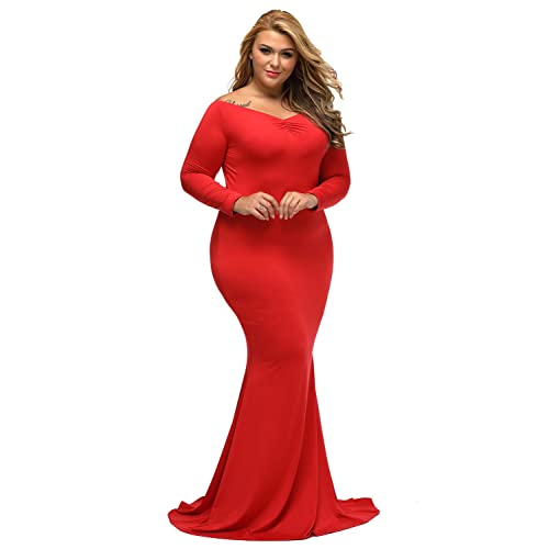 70402a8cc0960 Lalagen Women's Plus Size Off Shoulder Long Sleeve Formal Gown