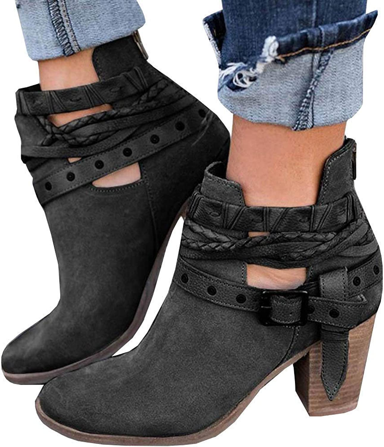 PRETTYHOMEL Womens Chunky Booties Cut Out Strappy High Stacked Block Heel Zip Up Ankle Boots