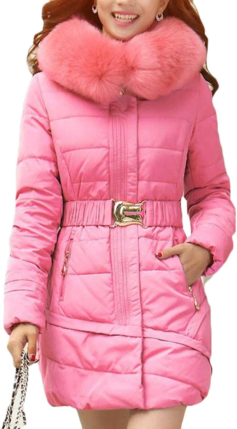 Joe Wenko Womens Faux Fur Puffer Winter Packable Quilted Hooded Overcoat Parka Coat