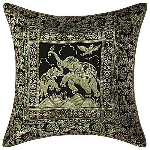 Stylo Culture Fundas de cojín Decorativas étnicas Black Brocade Jacquard Paisley Fundas de cojín de cojín Brocade Fundas de cojín de Elefante Tradicionales 40 x 40cm Elephant (1 Pieza)