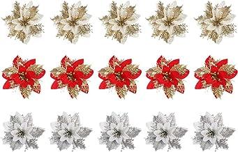 TOYANDONA 15pcs Christmas Glitter Flowers Xmas Poinsettia Holiday Tree Flower Garland Decoration Winter Wonderland Seasona...