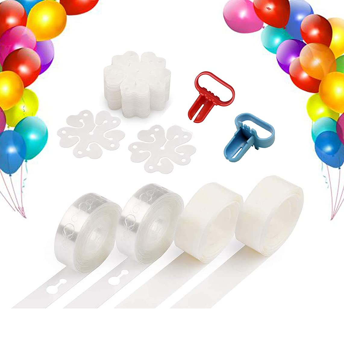 Balloon Decorating Strip Kit,Fashionclubs Balloon Arch Garland Decoration Kit 32Ft Balloon Tape Strip,1 Balloon Tying Tool,200 Balloon Dot Glue,20 Flower Clip for Wedding Bithday Baby Shower Party DIY