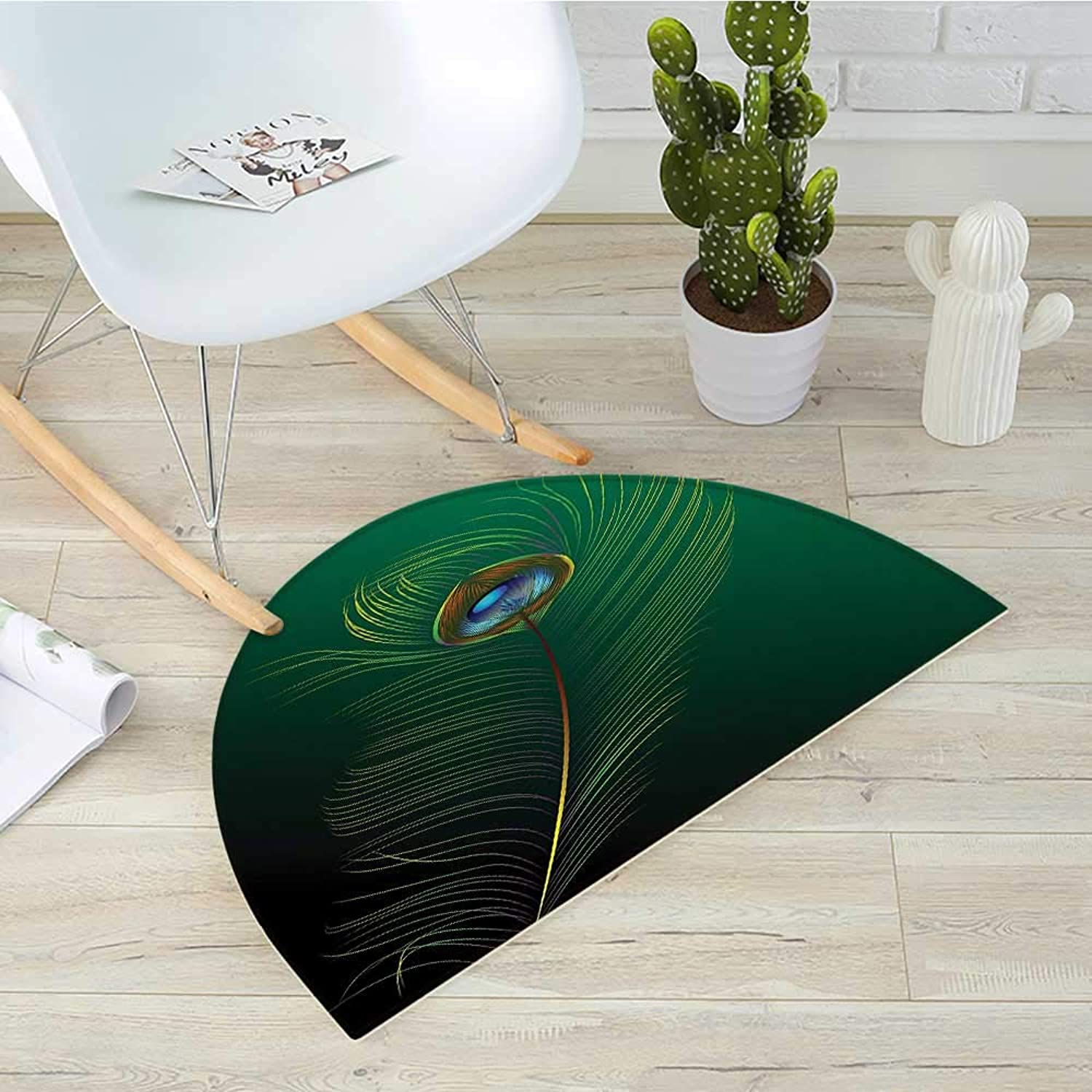 Peacock Half Round Door mats Peacock Feather Illustration in Simplistic Artistic Style Wild Nature Life Print Bathroom Mat H 35.4  xD 53.1  Green bluee