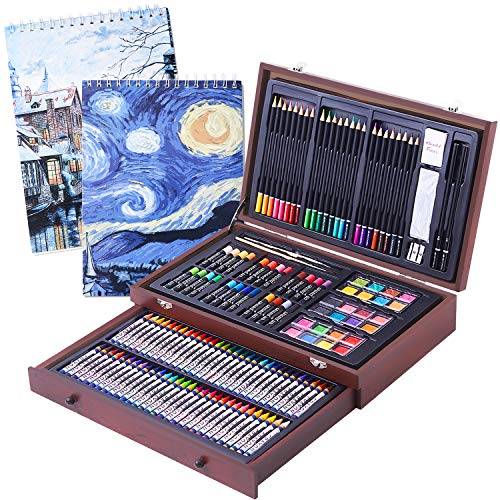 145 Piece Deluxe Art Set- 2 x 50 Page Sketch Book,Art Supplies in Portable Wooden Case with Crayons,Oil Pastels,Colored Pencils,Watercolor Cakes-Professional Art Kit