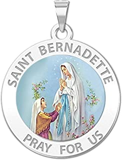 PicturesOnGold.com Saint Bernadette Religious Medal Color - 2/3 Inch Size of Dime, Sterling Silver