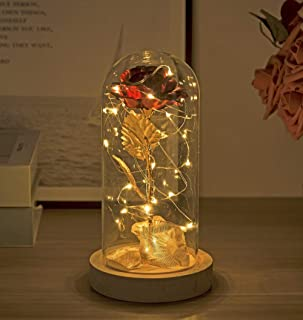 Enchanted Rose , 24K Gold Gilded Rose, Gold Plated Rose and LED Strip Lights with Fallen Petals in A Glass Dome on A Wooden Base, Best Gift for Someone, Mother's Day, Valentine's Day, Anniversary, Bi