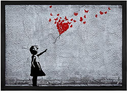 1art1 102664 Mädchen - Mädchen Mit Luftballon Und Schmetterlingen, Banksy-Style Fußmatte Türmatte (50 x70)