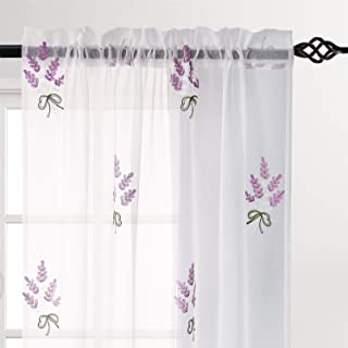 DWCN Faux Linen White Sheer Curtains Embroidered Lavender Flower Pattern Living Room Curtains, 52 x 63 inch, Set of 2 Curtain Panels