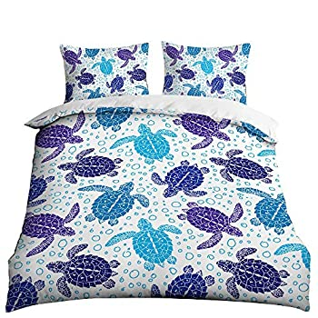 HOSIMA 3D Print Over Set Full Size Marine Animal Pattern Bedding Set Decorative Microfiber Polyester Comforter Cover Sea Turtle Print with 2 Pillow No quilt!  BIX47,Twin 70