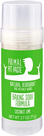Primal Pit Paste All Natural Coconut Lime Deodorant - Aluminum Free, Paraben Free, Non-GMO for Women and Men - Earth Friendly, BPA Free 2 Ounce Stow-and-Go Stick - Scented with Essential Oils