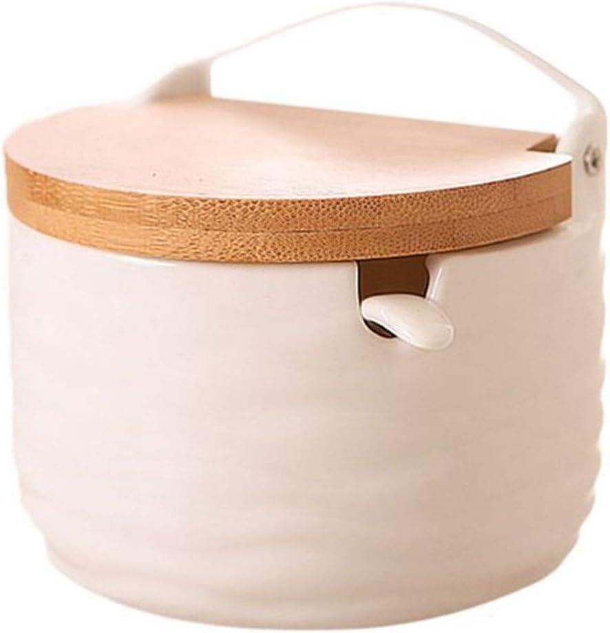 Tlwangl Seasoning Box 1PC Sugar Bowl Seaso lid Max 56% OFF Now free shipping Spoon Wooden with