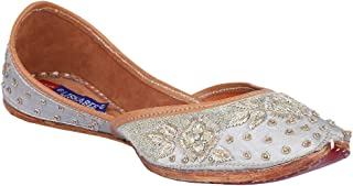 MSC Leather Ethnic Grey Flat Bellie for Women