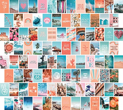 Artivo Peach Blue Aesthetic Wall Collage Kit, 100 Set 4x6 inch, VSCO Girls Bedroom Decor, Orange Teal Boho Dorm Wall Decor, Photo Collection