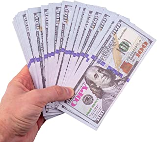 GoodOffer 100 Dollars Play Money - Realistic Prop Money 100 pcs. - Total of $10,000 Copy Money with Two Sides for Pranks, ...
