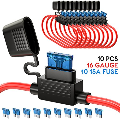 UNEEDE 10 Pack Fuse Inline Fuse Holder ATC/ATO Add-a-circuit Car Fuse Holder TAP Adapter 16 Gauge 20AMP Blade Automotive Fuse Holder Waterproof Heavy Duty Wire Fuse Holder with 10 pcs 15 AMP Standard